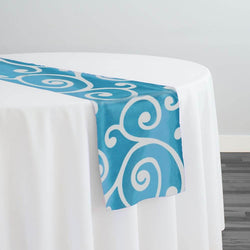 Swirl Flocking Taffeta Table Runner in Silver on Turquoise