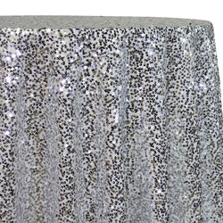 Taffeta Sequins Table Linen in Silver and White