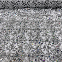 Flower Chain Lace (w/ Poly Lining) Table Napkin in Silver and White