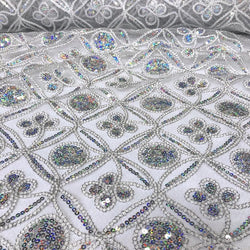 Skylar Sequins Table Runner in Silver and White