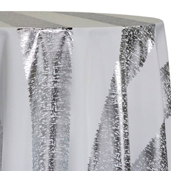 Stripe (Metallic Print) Table Linen in White and Silver