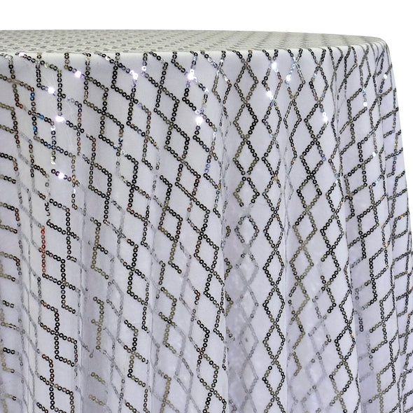 Vortex Sequins Table Linen in Silver and White