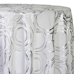 Orbit (Metallic Print) Table Linen in White and Silver