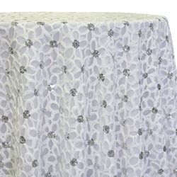 Daisy Sequins Table Linen in White