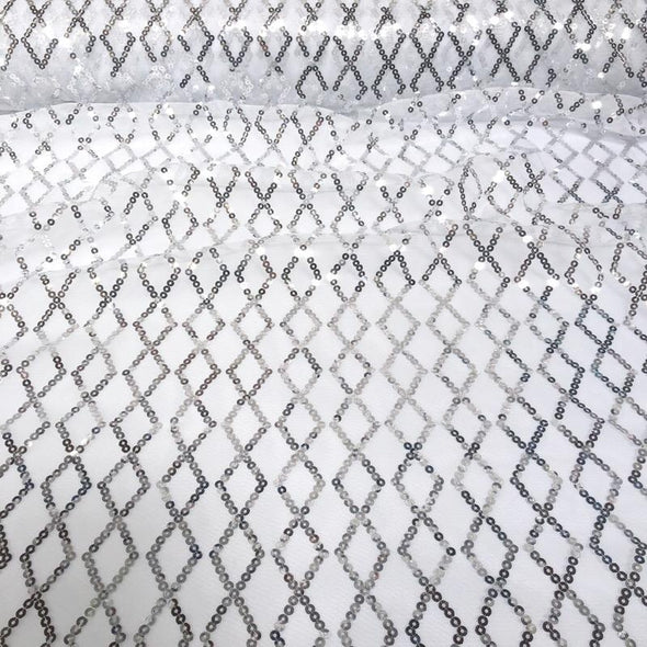 Vortex Sequins Wholesale Fabric in Silver White
