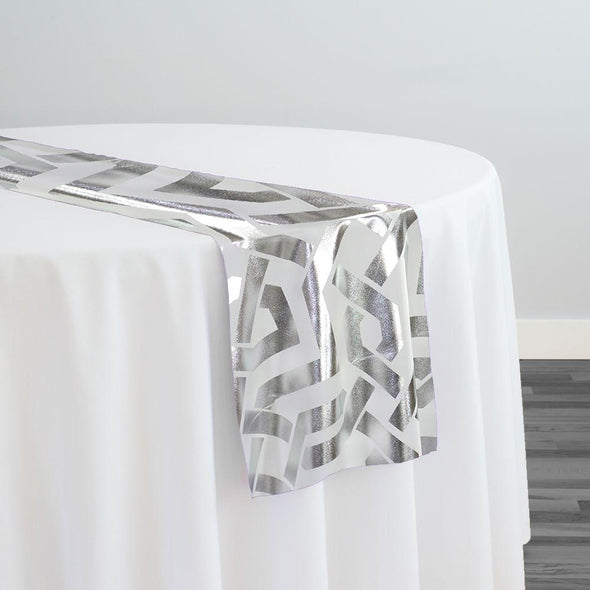 Majestic (Metallic Print) Table Runner in White and Silver