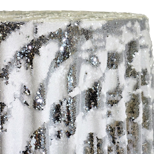 Two-Tone Sequins Table Linen in Silver and White