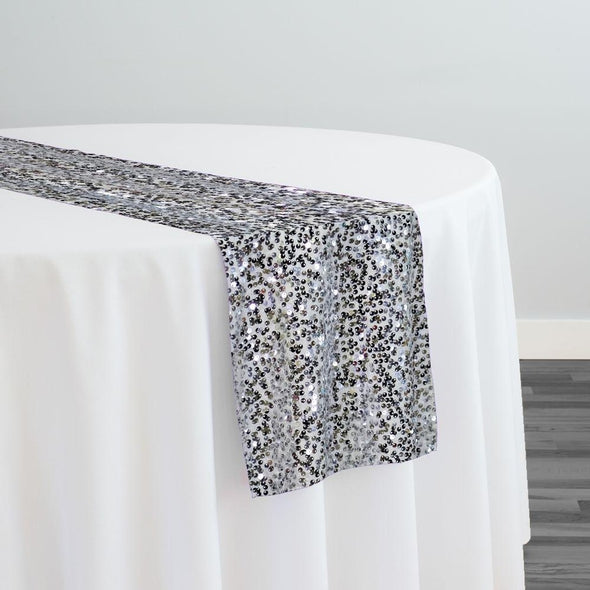 Taffeta Sequins Table Runner in Silver on White