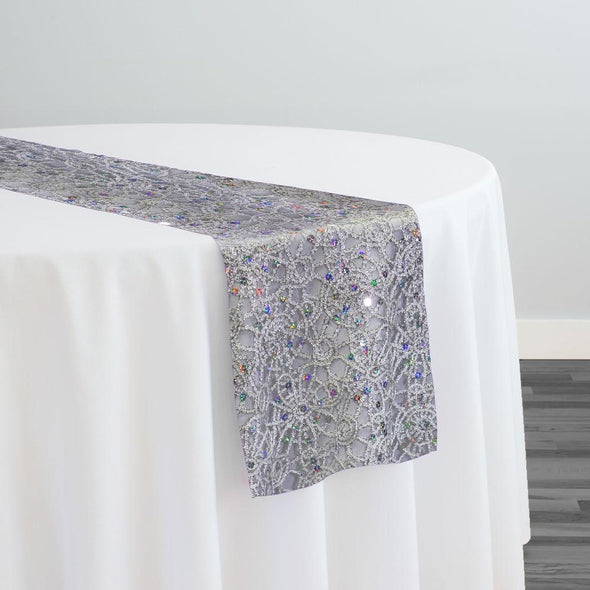 Flower Chain Lace Table Runner in Silver and White