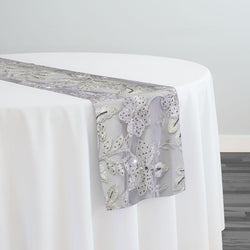 Claire Lace Table Runner in Silver and White