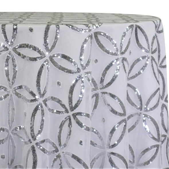 Delano Sequins Table Linen in Silver and White