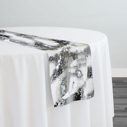Two-Tone Sequins Table Runner in White and Silver