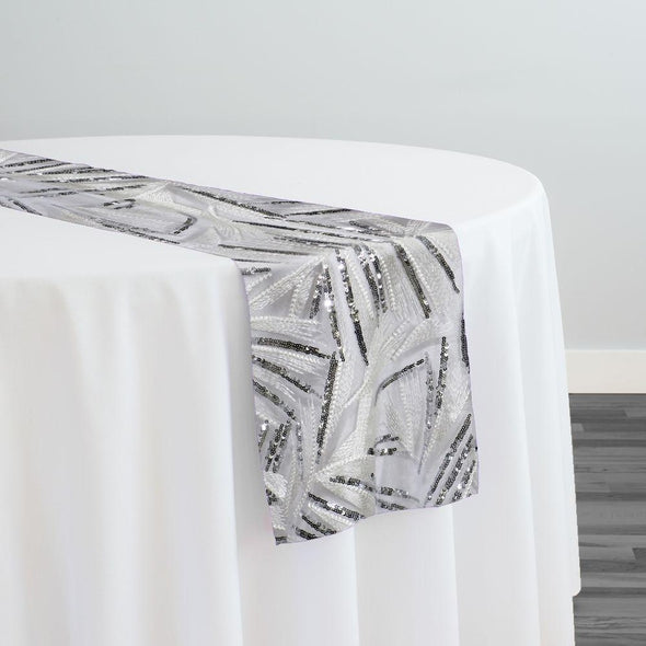 Sparkle Sequins Table Runner in Silver and White