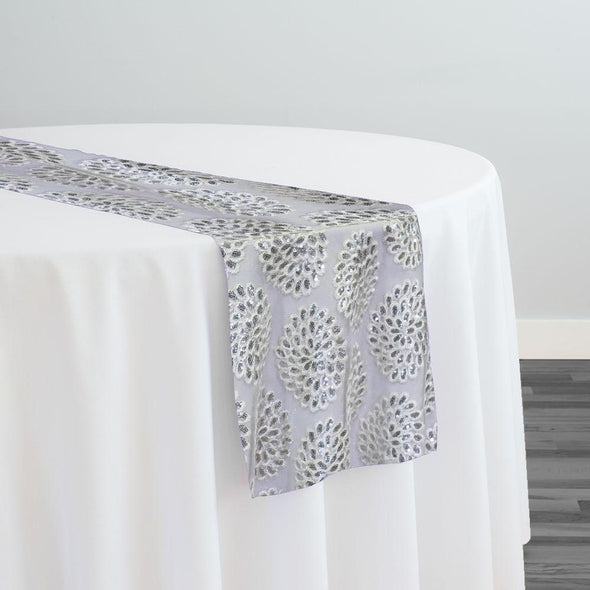 Dahlia Sequins Table Runner in White