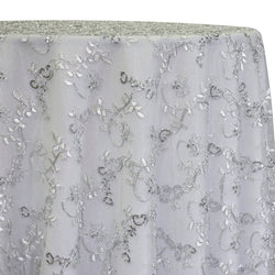 Basil Leaf Embroidery Table Linen in Silver