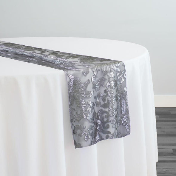 Milan Lace Table Runner in Silver