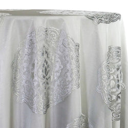 Medallion Jacquard Sheer Table Linen in Silver