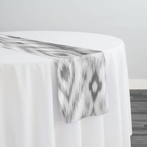 Cosmo Print (Dupioni) Table Runner in Silver