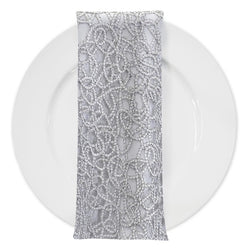 Swirl Chain Lace (w/ Poly Lining) Table Napkin in Silver