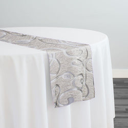 Contempo Scroll Sheer Table Runner in Silver