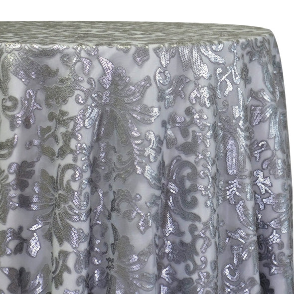 Milan Lace Table Linen in Silver