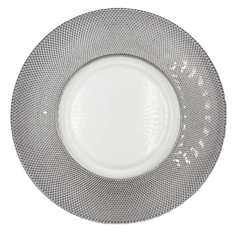 Dotted - Glass Charger Plate in Silver