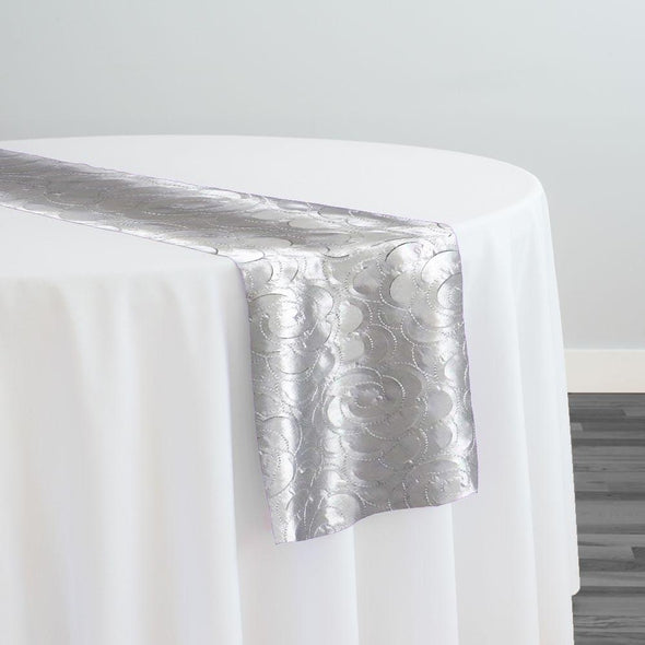 Flora Rose Table Runner in Silver