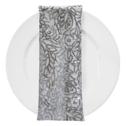 Fiori Leaf Sequins (w/ Poly Lining) Table Napkin Silver