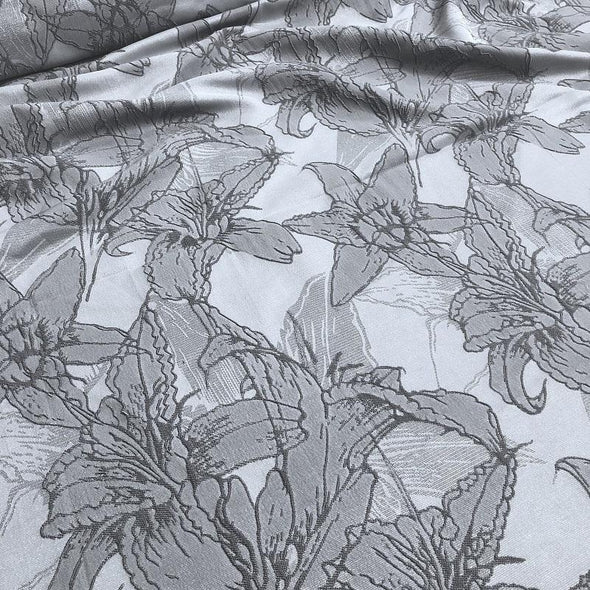 Floral Reef Jacquard Wholesale Fabric in Silver