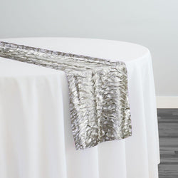 Austrian Wave Satin Table Runner in Silver