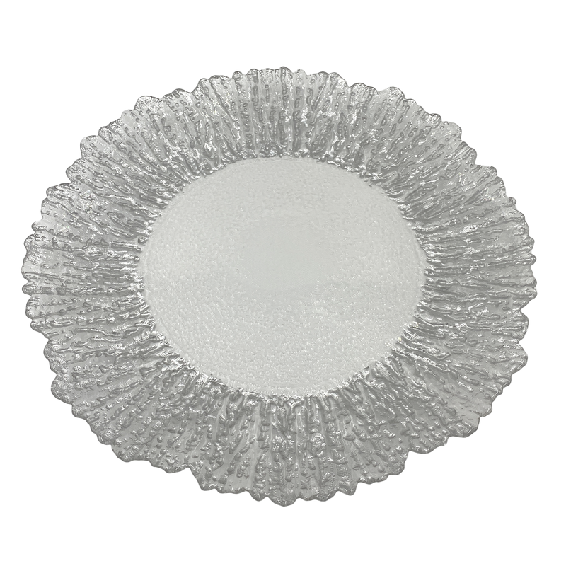 Floral - Glass Charger Plate in Silver