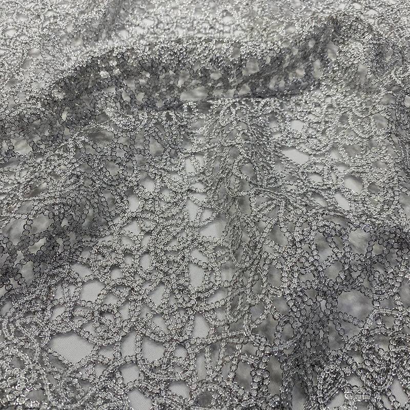 Swirl Chain Lace Wholesale Fabric in Silver and White