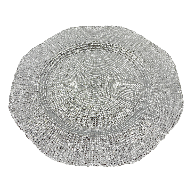 Hexagon - Glass Charger Plate in Silver