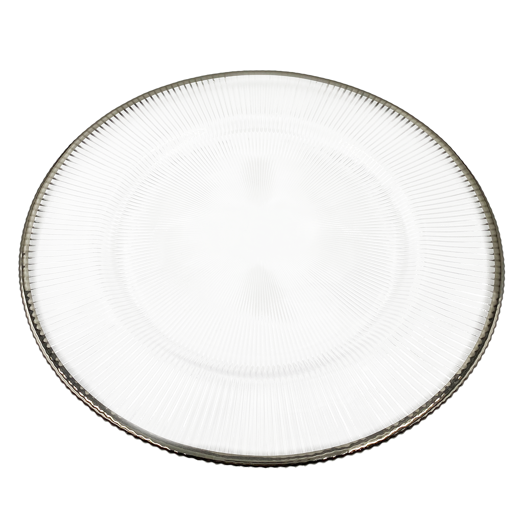 Ribbed Halo - Glass Charger Plate in Silver