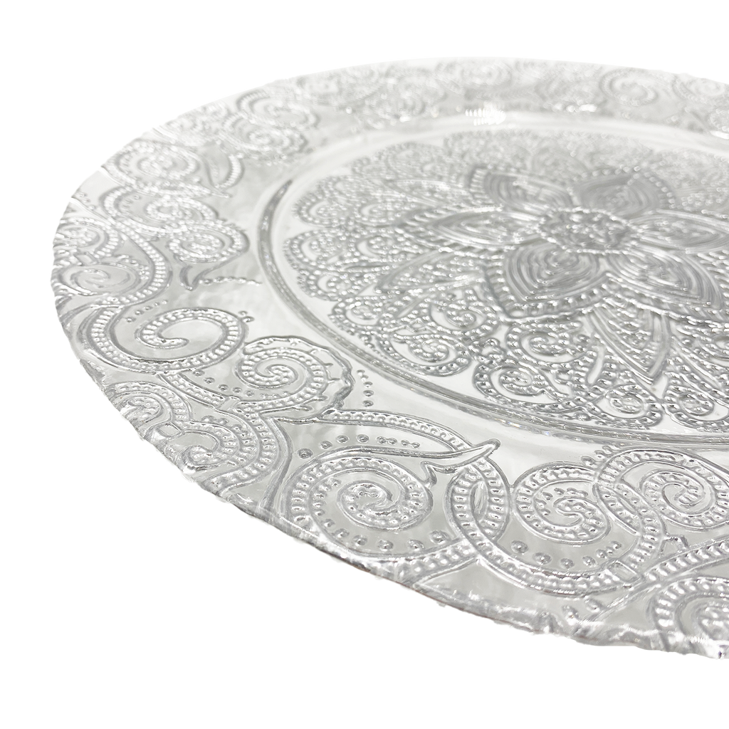 Henna - Glass Charger Plate in Silver