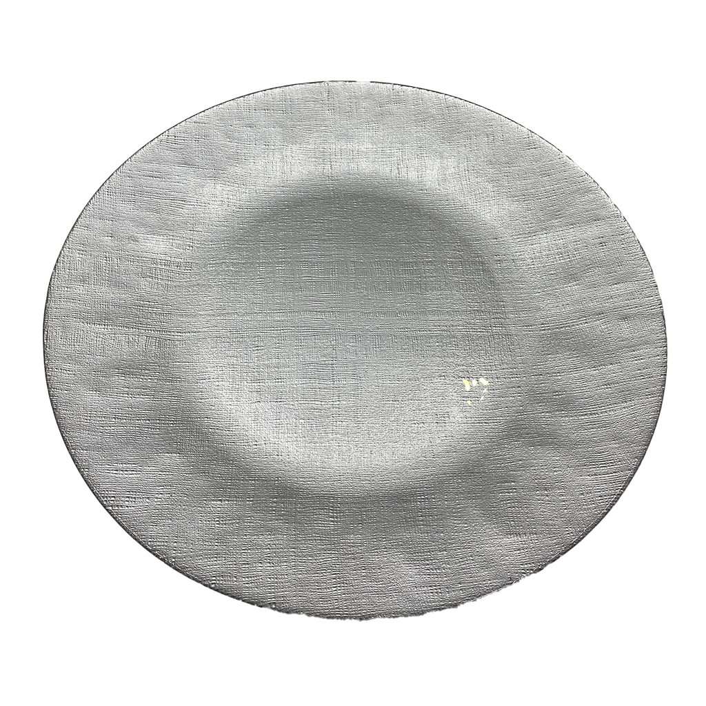 Linen - Glass Charger Plate in Silver