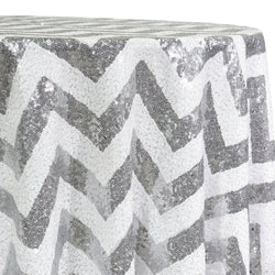 Chevron Glitz Sequins Table Linen in Silver