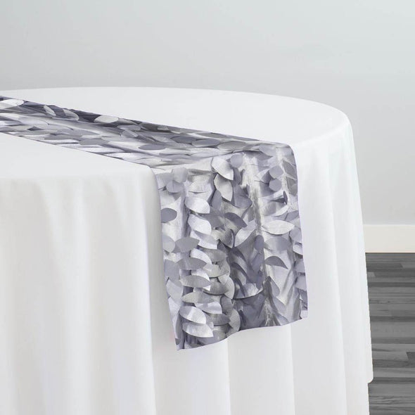 Leaf Hanging Taffeta Table Runner in Silver
