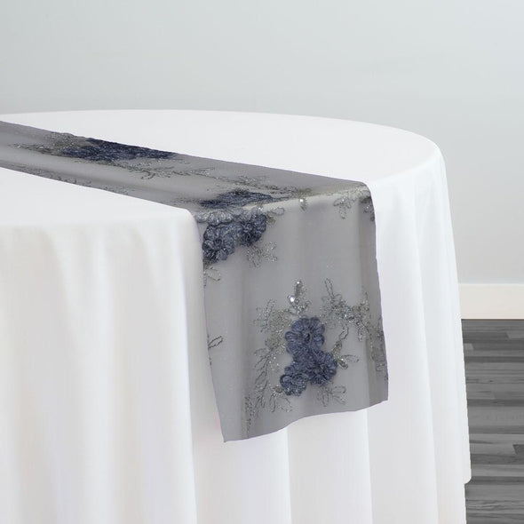 Ribbon Mesh Lace Table Runner in Silver