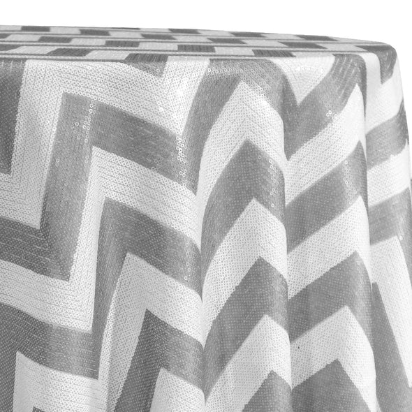 Chevron Sequins Table Linen in Silver