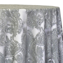 Princess Lace Table Linen in Silver
