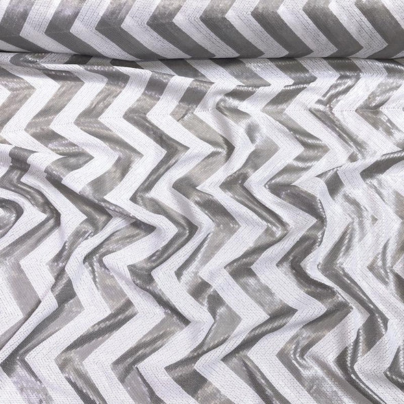 Chevron Sequins Wholesale Fabric in Silver