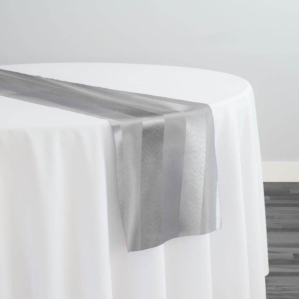 Imperial Stripe Table Runner in Silver