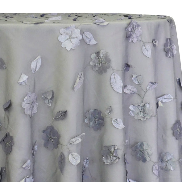 Lily Petal Table Linen in Silver