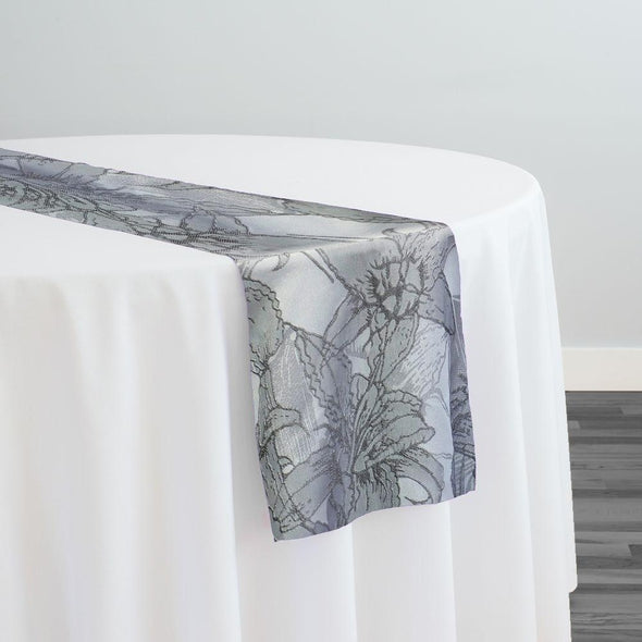 Floral Reef Jacquard Table Runner in Silver