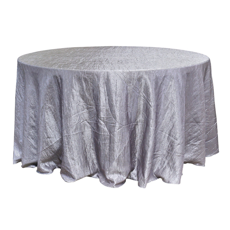 "Economy Crush Taffeta 132"" Round Tablecloth - Silver"