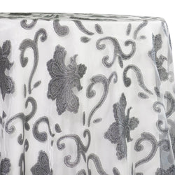 Fleur De Lis Table Linen in Silver