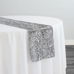 Fiori Leaf Sequins Table Runner in Silver