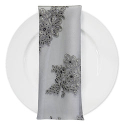 Venetian Lace (w/ Poly Lining) Table Napkin in Silver
