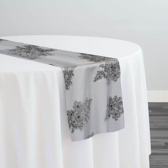 Venetian Lace Table Runner in Silver